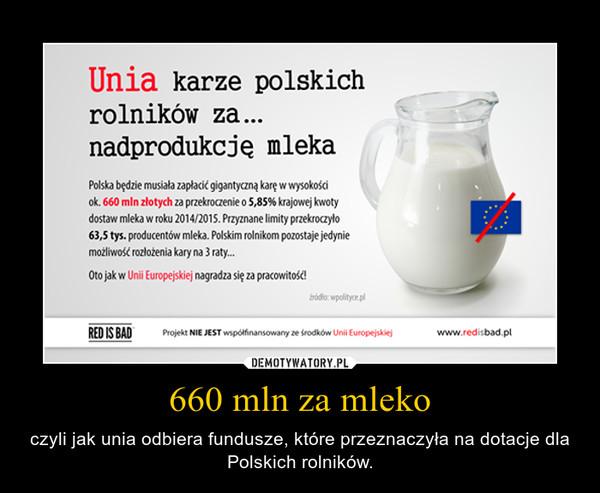 660 mln za mleko – czyli jak unia odbiera fundusze, które przeznaczyła na dotacje dla Polskich rolników.