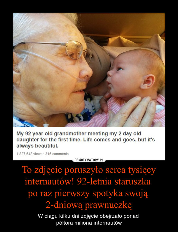 To zdjęcie poruszyło serca tysięcy internautów! 92-letnia staruszka po raz pierwszy spotyka swoją 2-dniową prawnuczkę – W ciągu kilku dni zdjęcie obejrzało ponad półtora miliona internautów