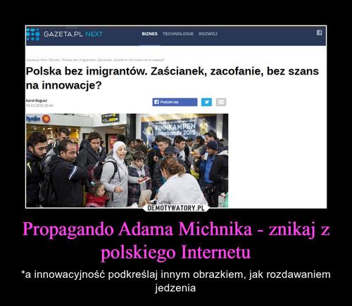 Propagando Adama Michnika - znikaj z polskiego Internetu