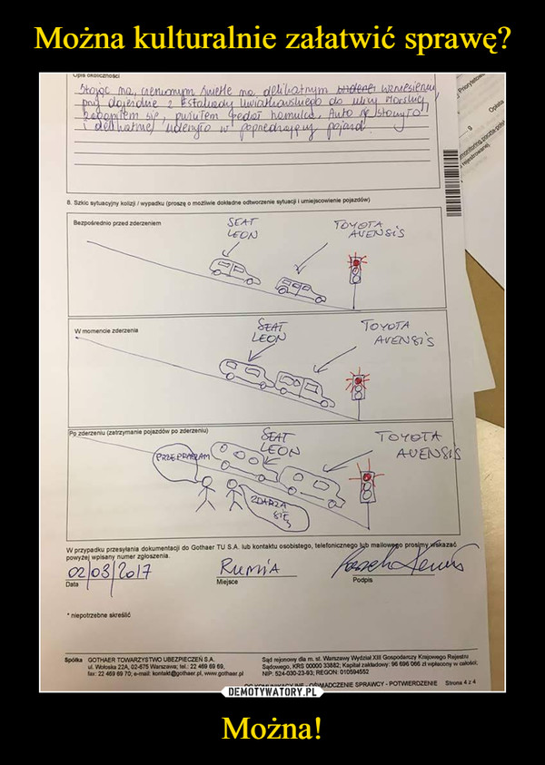 Można! –  szkic sytuacyjny kolizji wypadku seat leon toyota avensis przepraszam zdarza się
