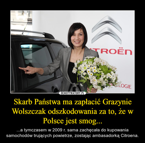 Skarb Państwa ma zapłacić Grazynie Wolszczak odszkodowania za to, że w Polsce jest smog...