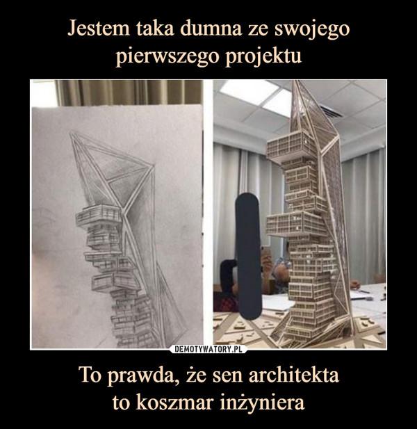 To prawda, że sen architektato koszmar inżyniera –