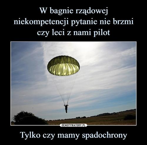 W bagnie rządowej niekompetencji pytanie nie brzmi czy leci z nami pilot Tylko czy mamy spadochrony