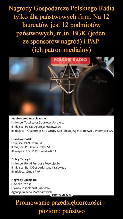 Nagrody Gospodarcze Polskiego Radia tylko dla państwowych firm. Na 12 laureatów jest 12 podmiotów państwowych, m.in. BGK (jeden  ze sponsorów nagród) i PAP  (ich patron medialny) Promowanie przedsiębiorczości -  poziom: państwo