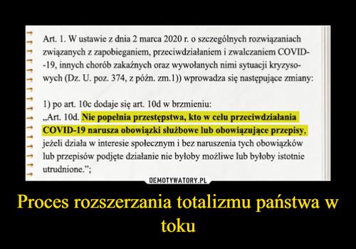 Proces rozszerzania totalizmu państwa w toku