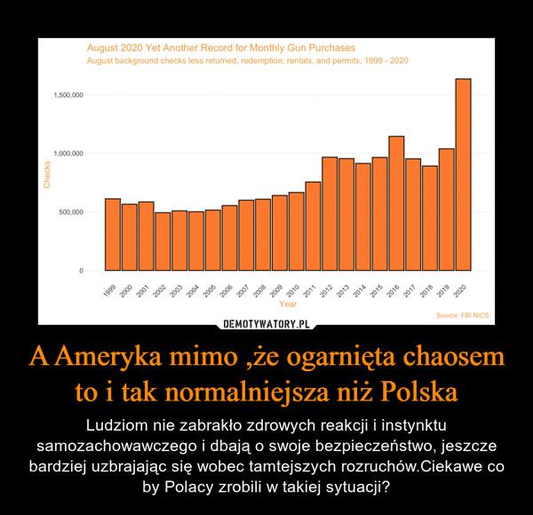 A Ameryka mimo ,że ogarnięta chaosem to i tak normalniejsza niż Polska – Ludziom nie zabrakło zdrowych reakcji i instynktu samozachowawczego i dbają o swoje bezpieczeństwo, jeszcze bardziej uzbrajając się wobec tamtejszych rozruchów.Ciekawe co by Polacy zrobili w takiej sytuacji?