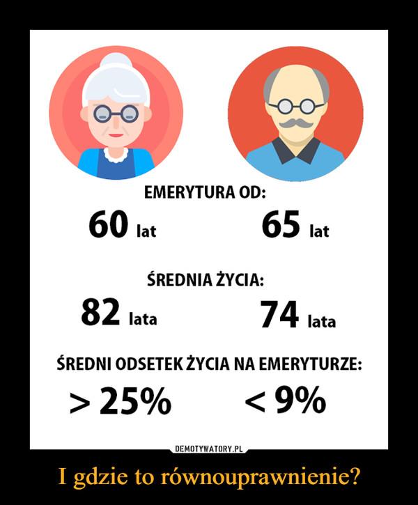 I gdzie to równouprawnienie? –  EMERYTURA OD: 60 lat 65 lat ŚREDNIA ŻYCIA: 82 lata 74 lata ŚREDNI ODSETEK ŻYCIA NA EMERYTURZE: > 25% < 9%