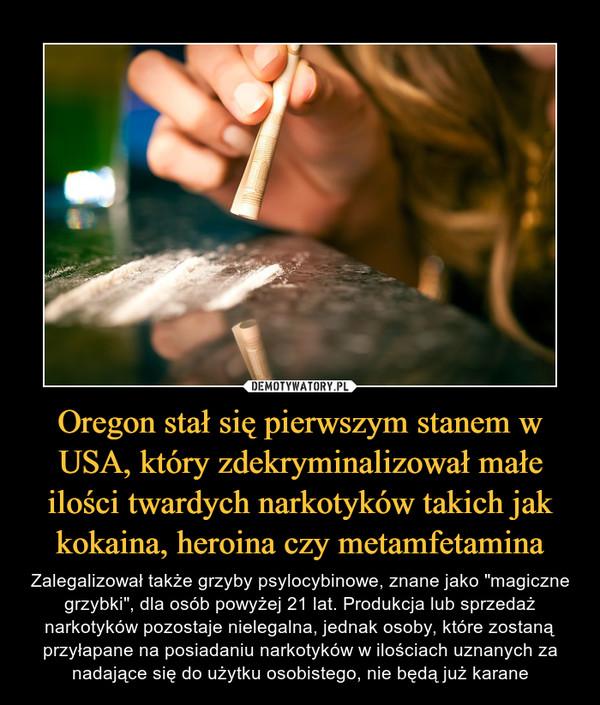 """Oregon stał się pierwszym stanem w USA, który zdekryminalizował małe ilości twardych narkotyków takich jak kokaina, heroina czy metamfetamina – Zalegalizował także grzyby psylocybinowe, znane jako """"magiczne grzybki"""", dla osób powyżej 21 lat. Produkcja lub sprzedaż narkotyków pozostaje nielegalna, jednak osoby, które zostaną przyłapane na posiadaniu narkotyków w ilościach uznanych za nadające się do użytku osobistego, nie będą już karane"""