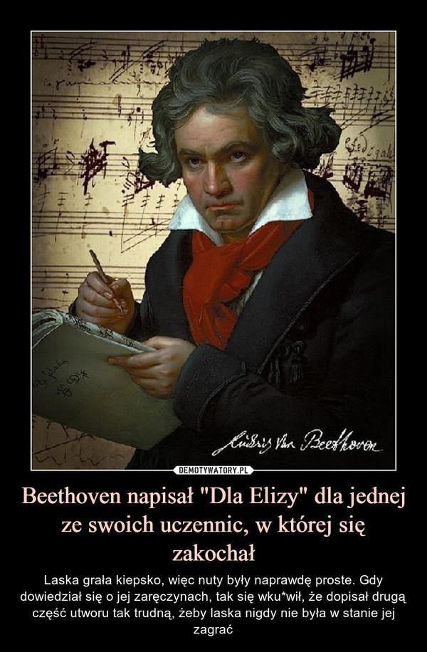 """Beethoven napisał """"Dla Elizy"""" dla jednej ze swoich uczennic, w której się zakochał – Laska grała kiepsko, więc nuty były naprawdę proste. Gdy dowiedział się o jej zaręczynach, tak się wku*wił, że dopisał drugą część utworu tak trudną, żeby laska nigdy nie była w stanie jej zagrać"""