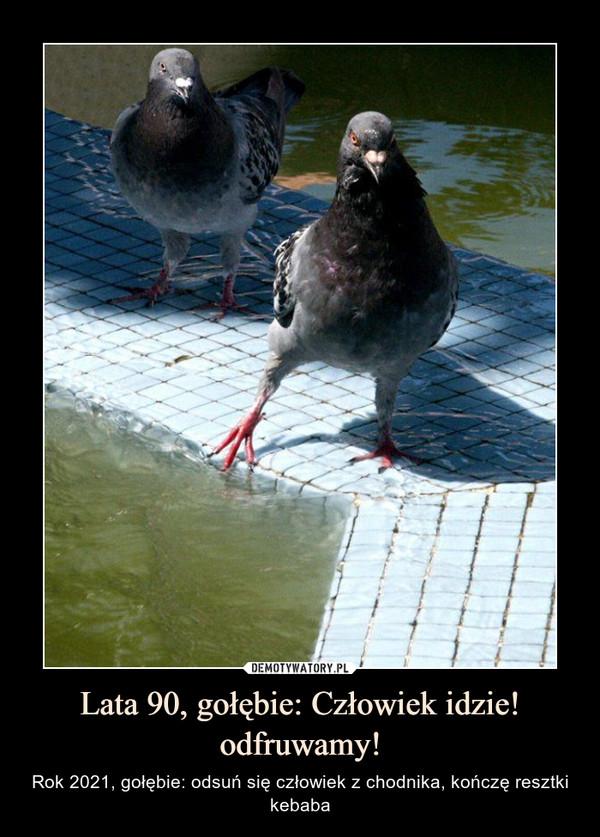 Lata 90, gołębie: Człowiek idzie! odfruwamy! – Rok 2021, gołębie: odsuń się człowiek z chodnika, kończę resztki kebaba