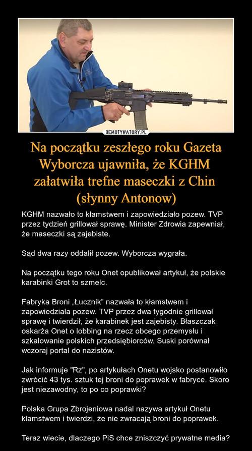 Na początku zeszłego roku Gazeta Wyborcza ujawniła, że KGHM  załatwiła trefne maseczki z Chin  (słynny Antonow)
