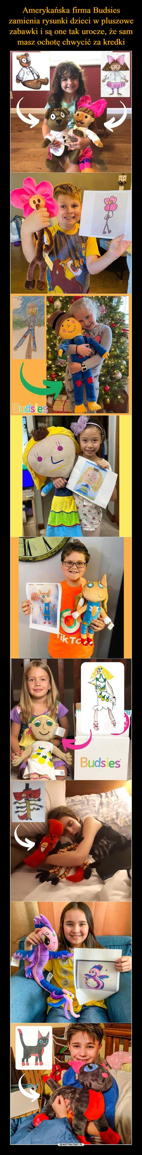 Amerykańska firma Budsies zamienia rysunki dzieci w pluszowe zabawki i są one tak urocze, że sam masz ochotę chwycić za kredki