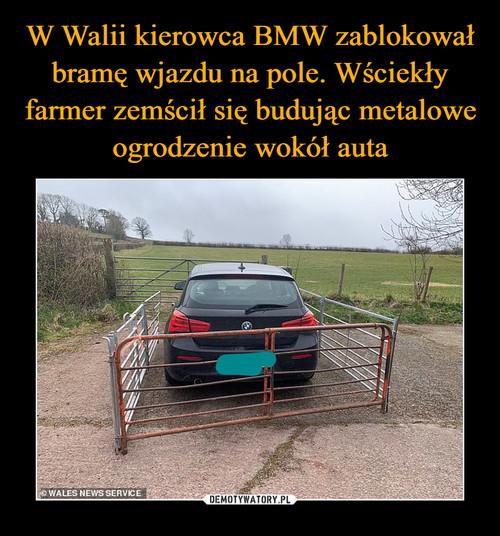 W Walii kierowca BMW zablokował bramę wjazdu na pole. Wściekły farmer zemścił się budując metalowe ogrodzenie wokół auta