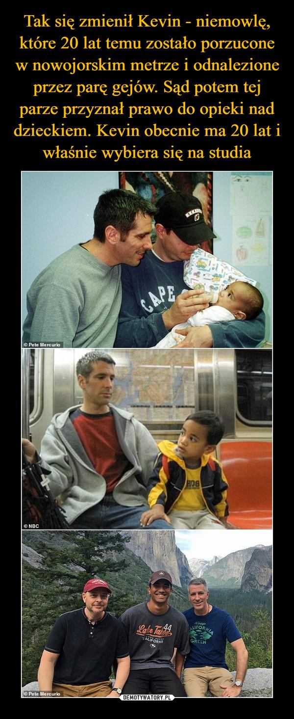 Tak się zmienił Kevin - niemowlę, które 20 lat temu zostało porzucone w nowojorskim metrze i odnalezione przez parę gejów. Sąd potem tej parze przyznał prawo do opieki nad dzieckiem. Kevin obecnie ma 20 lat i właśnie wybiera się na studia