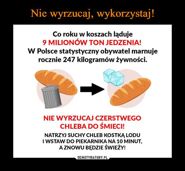 –  Co roku w koszach ląduje9 MILIONÓW TON JEDZENIA!W Polsce statystyczny obywatel marnujerocznie 247 kilogramów żywności.NIE WYRZUCAJ CZERSTWEGOCHLEBA DO ŚMIECI!NATRZYJ SUCHY CHLEB KOSTKĄ LODUI WSTAW DO PIEKARNIKA NA 10 MINUT,A ZNOWU BĘDZIE ŚWIEŻY!