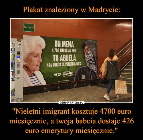 """Plakat znaleziony w Madrycie: """"Nieletni imigrant kosztuje 4700 euro miesięcznie, a twoja babcia dostaje 426 euro emerytury miesięcznie."""""""