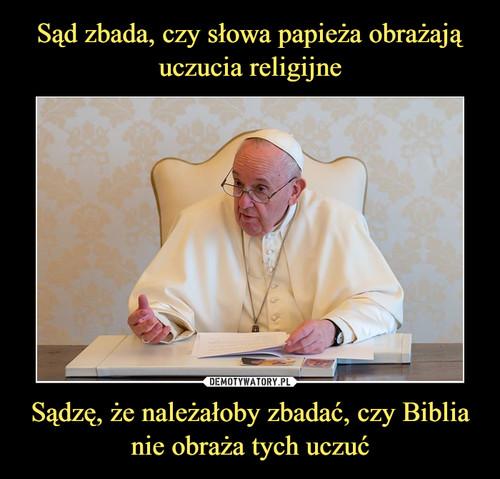 Sąd zbada, czy słowa papieża obrażają uczucia religijne Sądzę, że należałoby zbadać, czy Biblia nie obraża tych uczuć