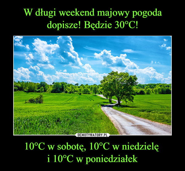 10°C w sobotę, 10°C w niedzielę i 10°C w poniedziałek –