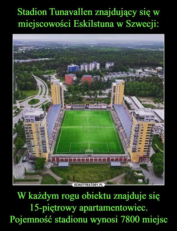 W każdym rogu obiektu znajduje się 15-piętrowy apartamentowiec. Pojemność stadionu wynosi 7800 miejsc –
