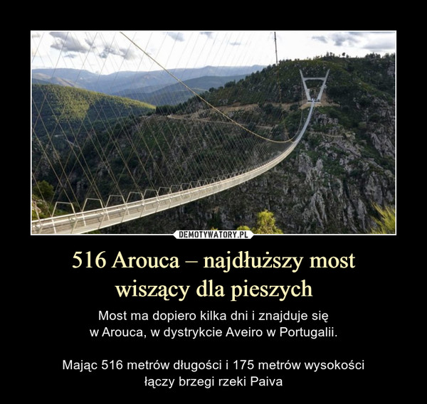516 Arouca – najdłuższy mostwiszący dla pieszych – Most ma dopiero kilka dni i znajduje sięw Arouca, w dystrykcie Aveiro w Portugalii.Mając 516 metrów długości i 175 metrów wysokościłączy brzegi rzeki Paiva