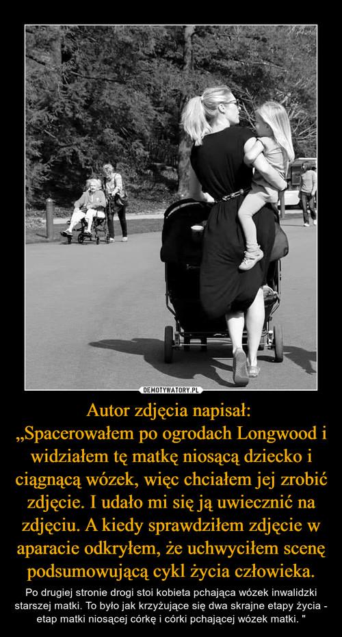 """Autor zdjęcia napisał:  """"Spacerowałem po ogrodach Longwood i widziałem tę matkę niosącą dziecko i ciągnącą wózek, więc chciałem jej zrobić zdjęcie. I udało mi się ją uwiecznić na zdjęciu. A kiedy sprawdziłem zdjęcie w aparacie odkryłem, że uchwyciłem scenę podsumowującą cykl życia człowieka."""