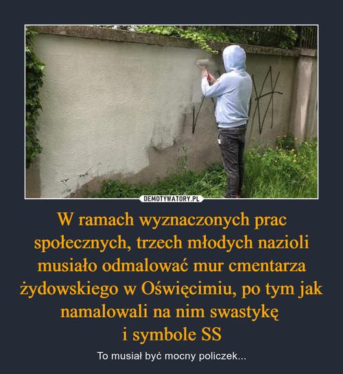 W ramach wyznaczonych prac społecznych, trzech młodych nazioli musiało odmalować mur cmentarza żydowskiego w Oświęcimiu, po tym jak namalowali na nim swastykę  i symbole SS