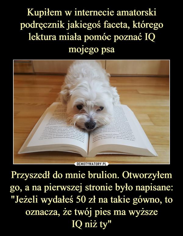 """Przyszedł do mnie brulion. Otworzyłem go, a na pierwszej stronie było napisane: """"Jeżeli wydałeś 50 zł na takie gówno, to oznacza, że twój pies ma wyższeIQ niż ty"""" –"""