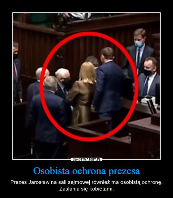 Osobista ochrona prezesa – Prezes Jarosław na sali sejmowej również ma osobistą ochronę. Zasłania się kobietami.