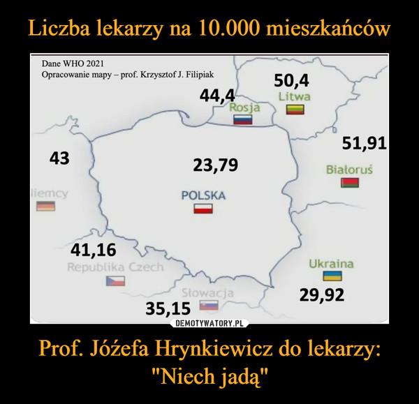 """Prof. Jóźefa Hrynkiewicz do lekarzy: """"Niech jadą"""" –"""