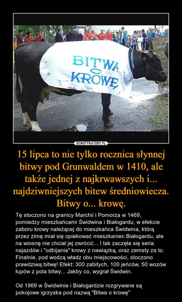 """15 lipca to nie tylko rocznica słynnej bitwy pod Grunwaldem w 1410, ale także jednej z najkrwawszych i... najdziwniejszych bitew średniowiecza. Bitwy o... krowę. – Tę stoczono na granicy Marchii i Pomorza w 1469, pomiedzy mieszkańcami Świdwina i Białogardu, w efekcie zaboru krowy należącej do mieszkańca Świdwina, którą przez zimę miał się opiekować mieszkaniec Białogardu, ale na wiosnę nie chciał jej zwrócić... I tak zaczęła się seria najazdów i """"odbijania"""" krowy z nawiązką, oraz zemsty za to. Finalnie, pod wodzą władz obu miejscowości, stoczono prawdziwą bitwę! Efekt: 300 zabitych, 100 jeńców, 50 wozów łupów z pola bitwy... Jakby co, wygrał Świdwin.Od 1969 w Świdwinie i Białogardzie rozgrywane są pokojowe igrzyska pod nazwą """"Bitwa o krowę"""""""