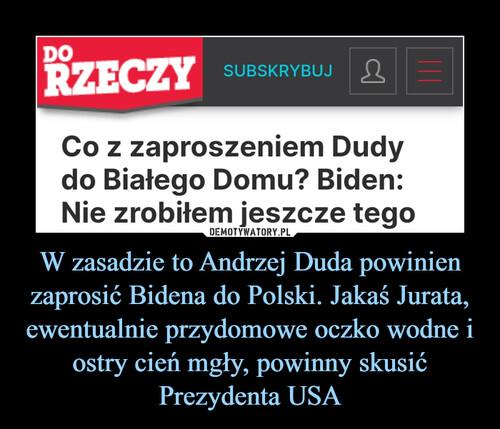 W zasadzie to Andrzej Duda powinien zaprosić Bidena do Polski. Jakaś Jurata, ewentualnie przydomowe oczko wodne i ostry cień mgły, powinny skusić Prezydenta USA