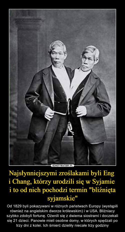 """Najsłynniejszymi zroślakami byli Eng  i Chang, którzy urodzili się w Syjamie  i to od nich pochodzi termin """"bliźnięta syjamskie"""""""