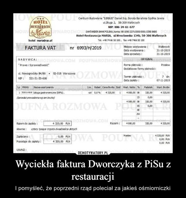 Wyciekła faktura Dworczyka z PiSu z restauracji – I pomyśleć, że poprzedni rząd poleciał za jakieś ośmiorniczki