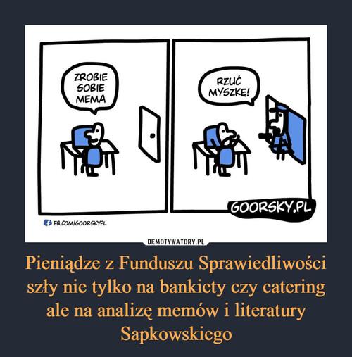 Pieniądze z Funduszu Sprawiedliwości szły nie tylko na bankiety czy catering ale na analizę memów i literatury Sapkowskiego
