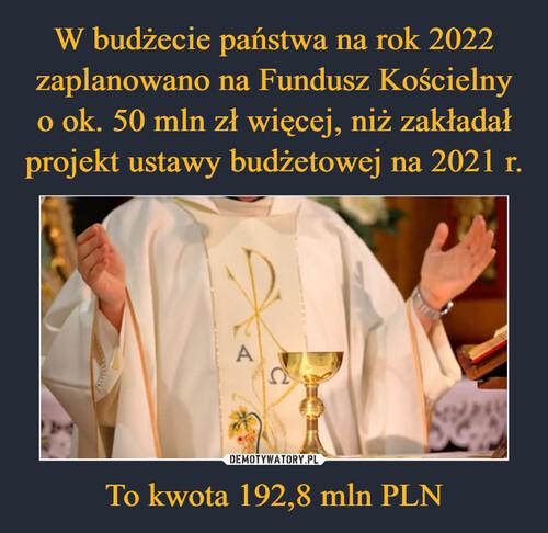 W budżecie państwa na rok 2022 zaplanowano na Fundusz Kościelny o ok. 50 mln zł więcej, niż zakładał projekt ustawy budżetowej na 2021 r. To kwota 192,8 mln PLN
